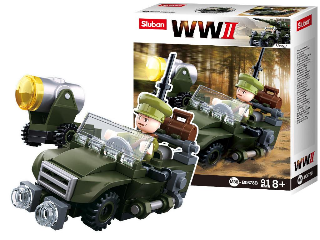 Stavebnica Army 4into1 Jeep 91ks