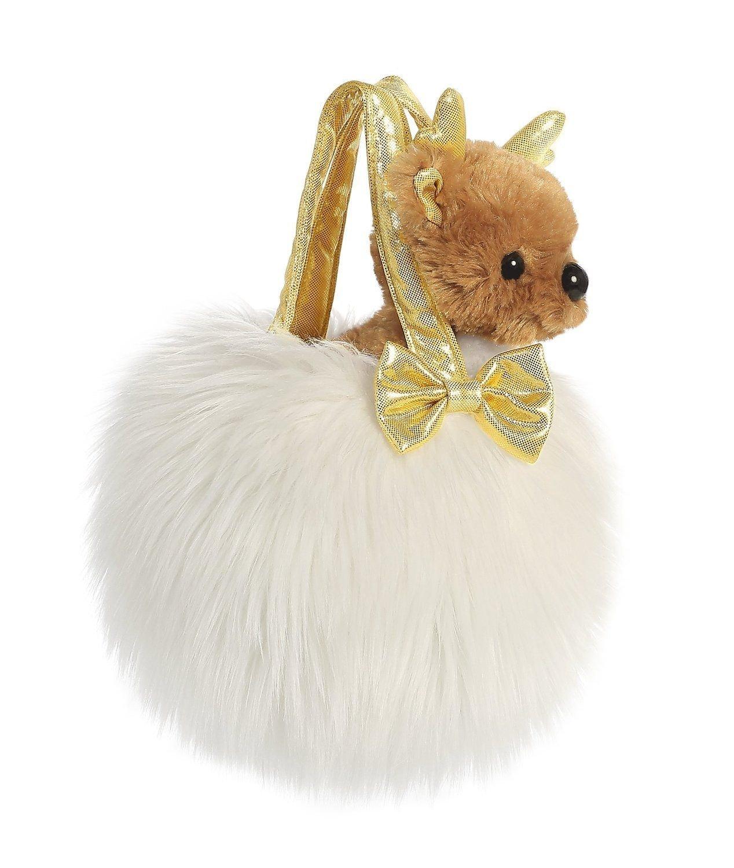 Plyšová kabelka biela so sobom - Fancy Pals (20,5 cm)