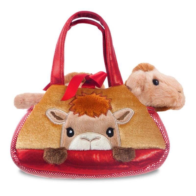 Plyšová kabelka červená s ťavou - Fancy Pals (20,5 cm)