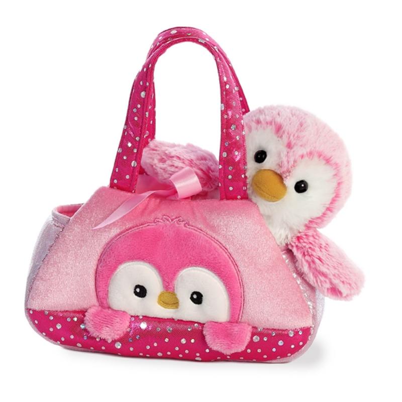 Plyšová kabelka cyklamenová s tučniačikom - Fancy Pals (20,5 cm)