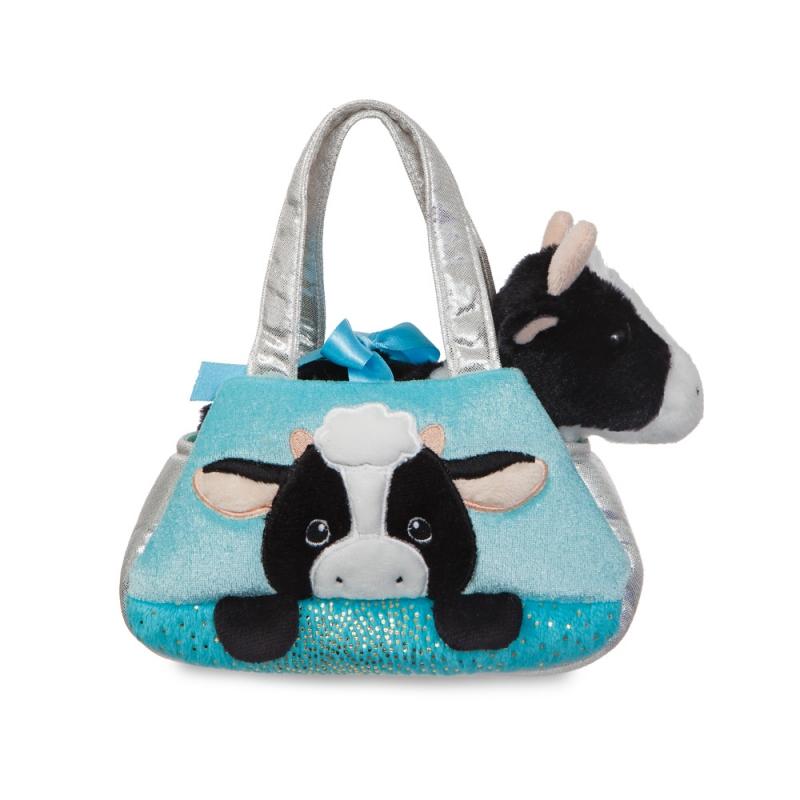 Plyšová kabelka modrá s kravičkou - Fancy Pals (20,5 cm)
