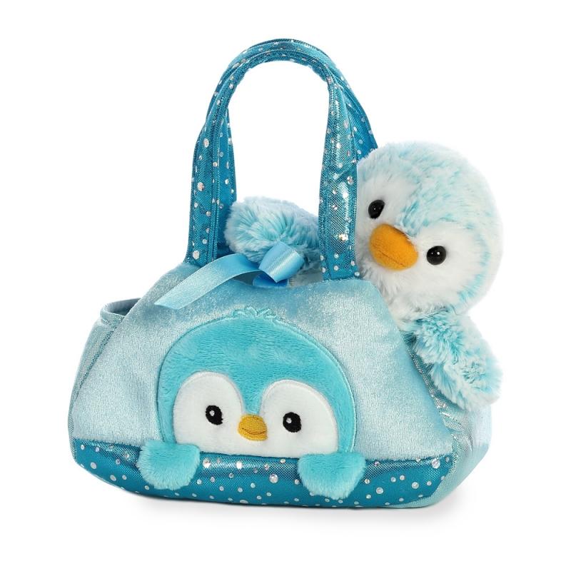 Plyšová kabelka modrá s tučniačikom - Fancy Pals (20,5 cm)