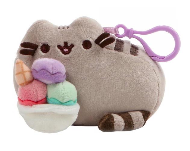 Plyšová mačička Pusheen ležiaca so zmrzlinou - prívesok (12 cm)