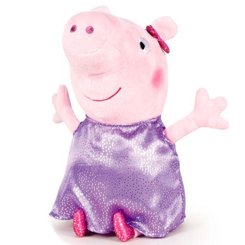 Plyšové prasiatko vo fialových ligotavých šatách - Prasiatko Peppa (20 cm)