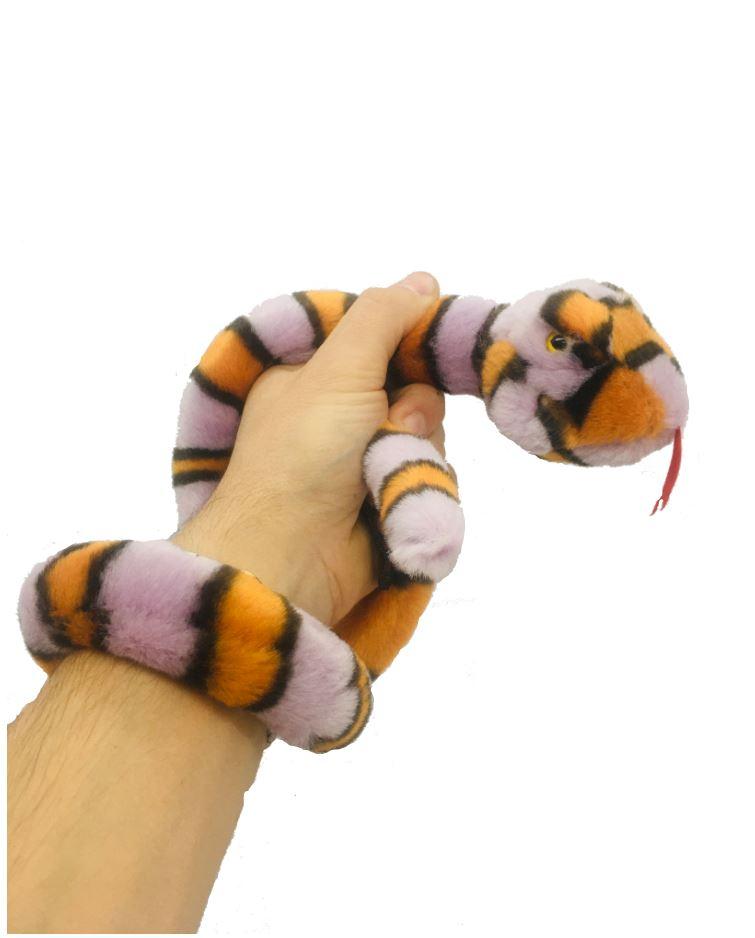 Plyšový had fialovo-oranžový - 85 cm