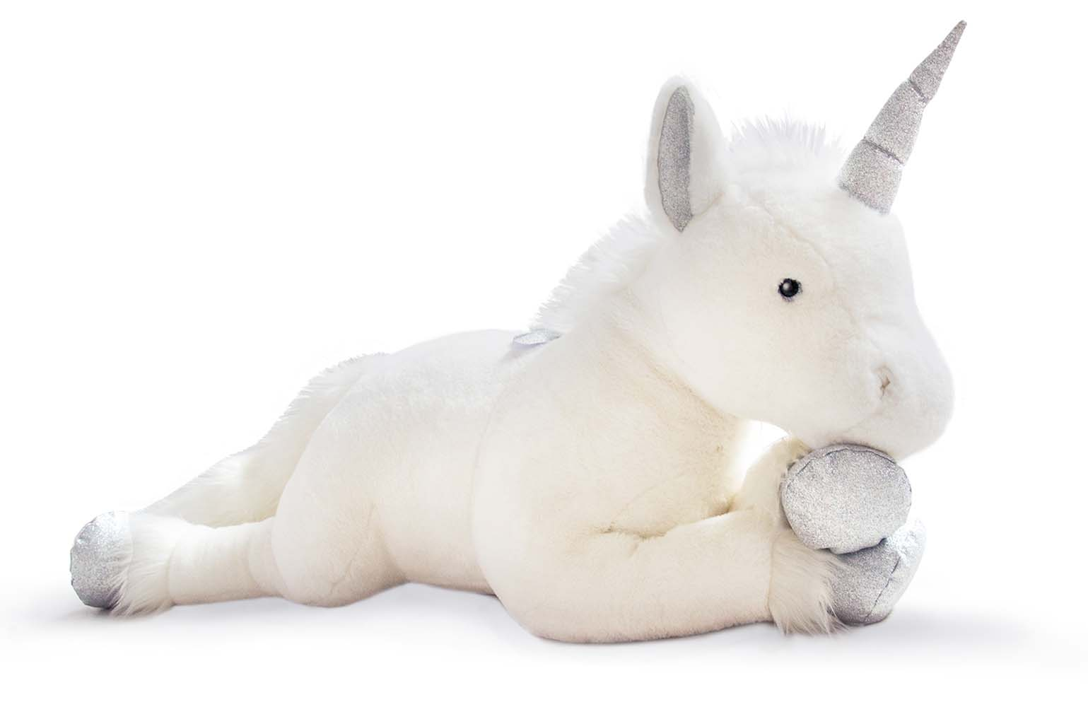 Plyšový jednorožec bielo-strieborný - Histoire D´Ours (100 cm)