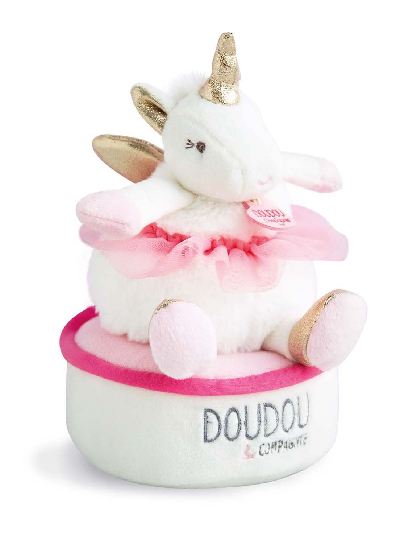 Plyšový jednorožec - hracia skrinka v škatuľke - Dou Dou (17 cm)