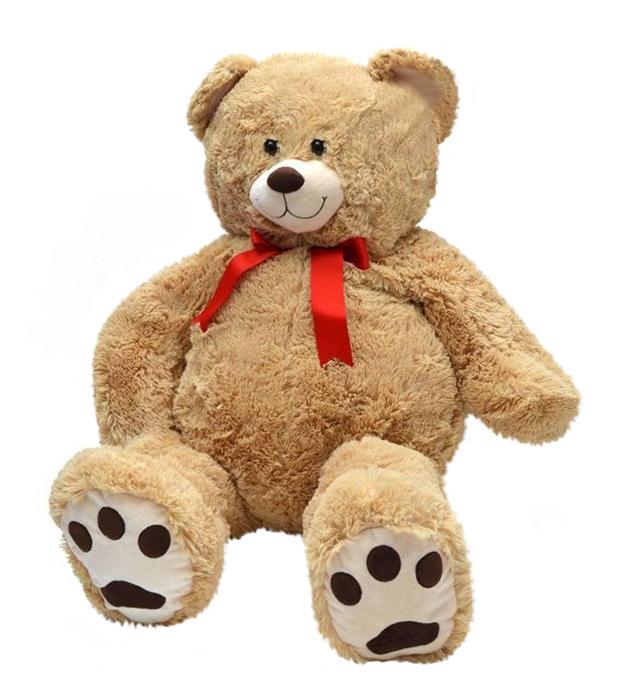Plyšový medvedík medovohnedý s červenou mašľou (100 cm)