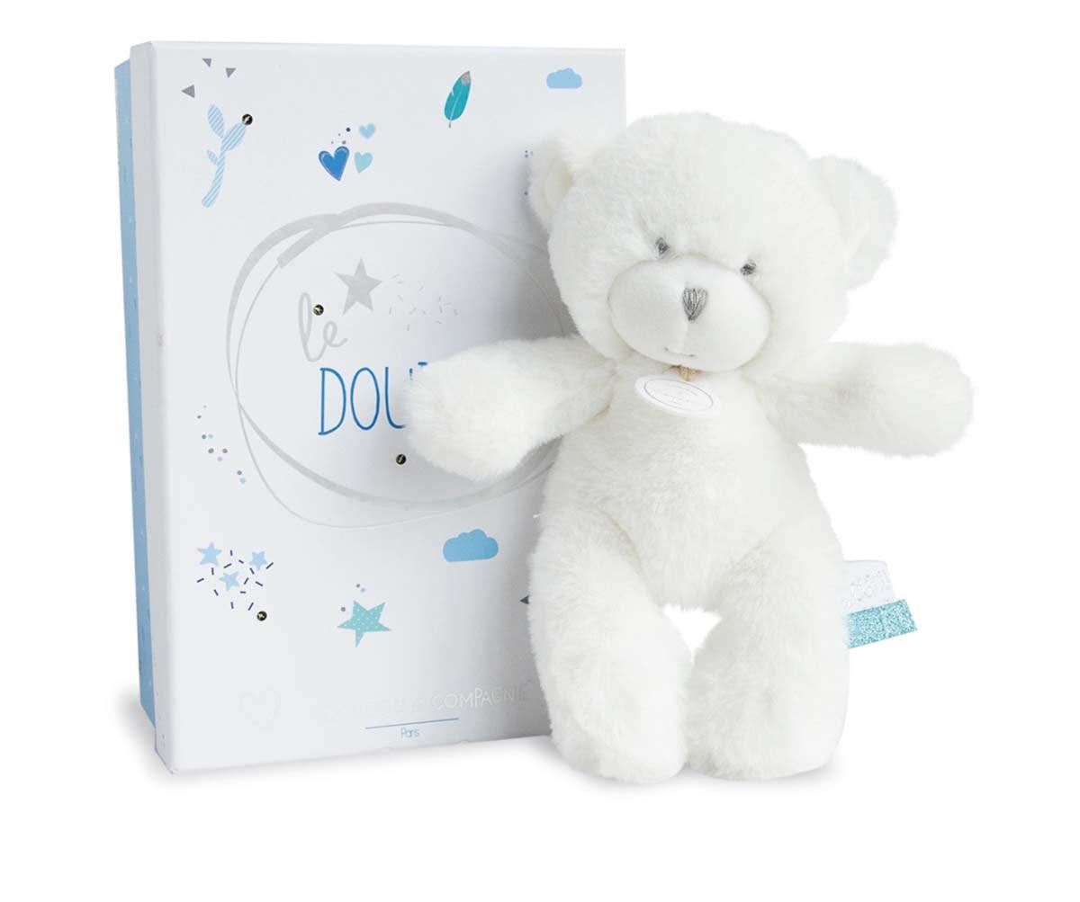 Plyšový medvedík Tendre v modrej škatuľke so svetielkami - Dou Dou (20 cm)