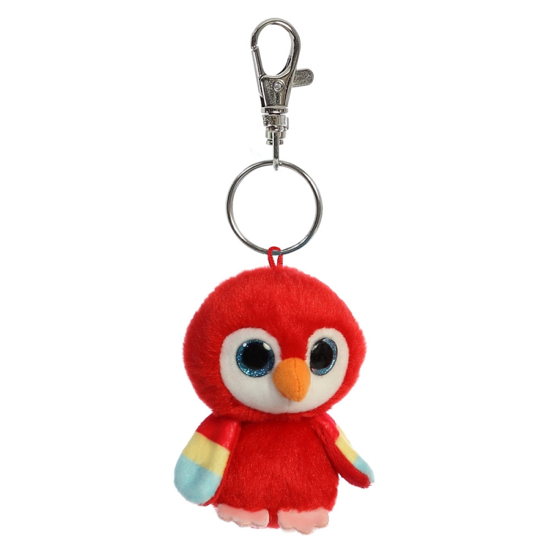 Plyšový papagáj Lora Baby - kľúčenka - YooHoo (9 cm)