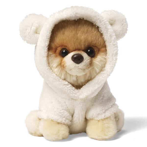 Plyšový psík Boo v bielej mikine (12 cm)
