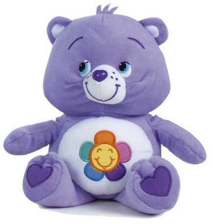 Plyšový starostlivý medvedík fialový - kvietok (47 cm)