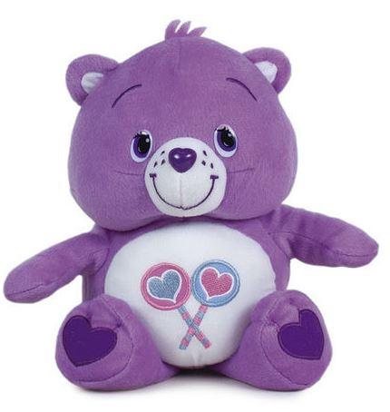 Plyšový starostlivý medvedík fialový - srdiečka (47 cm)