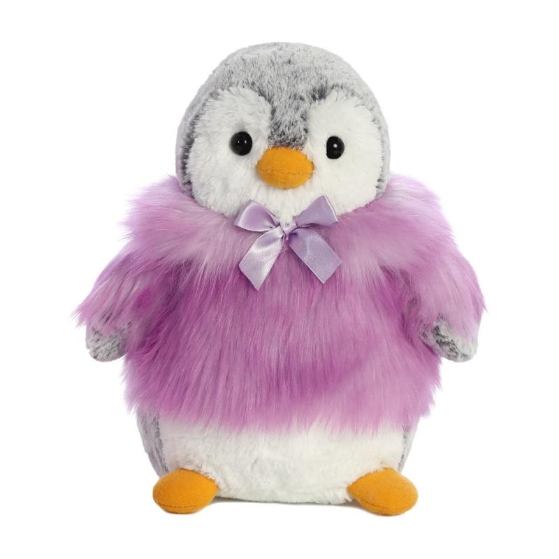 Plyšový tučniak vo fialovom kožúšku - Pom Pom (22,5 cm)