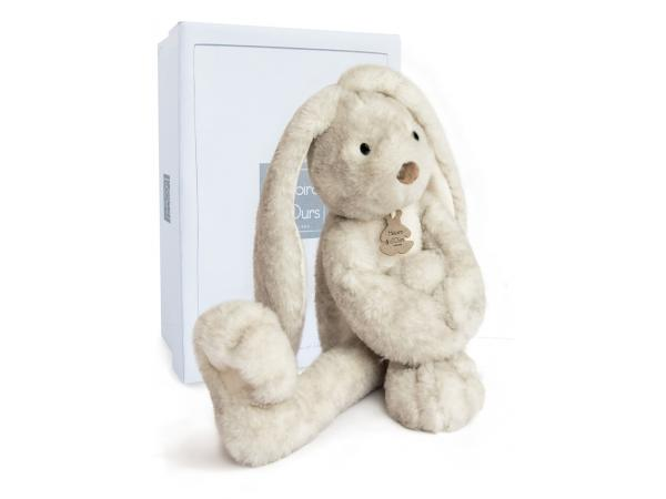 Plyšový zajíček s dlouhými nohami Fluffy šedý v krabičce - Histoire D´Ours (38 cm)