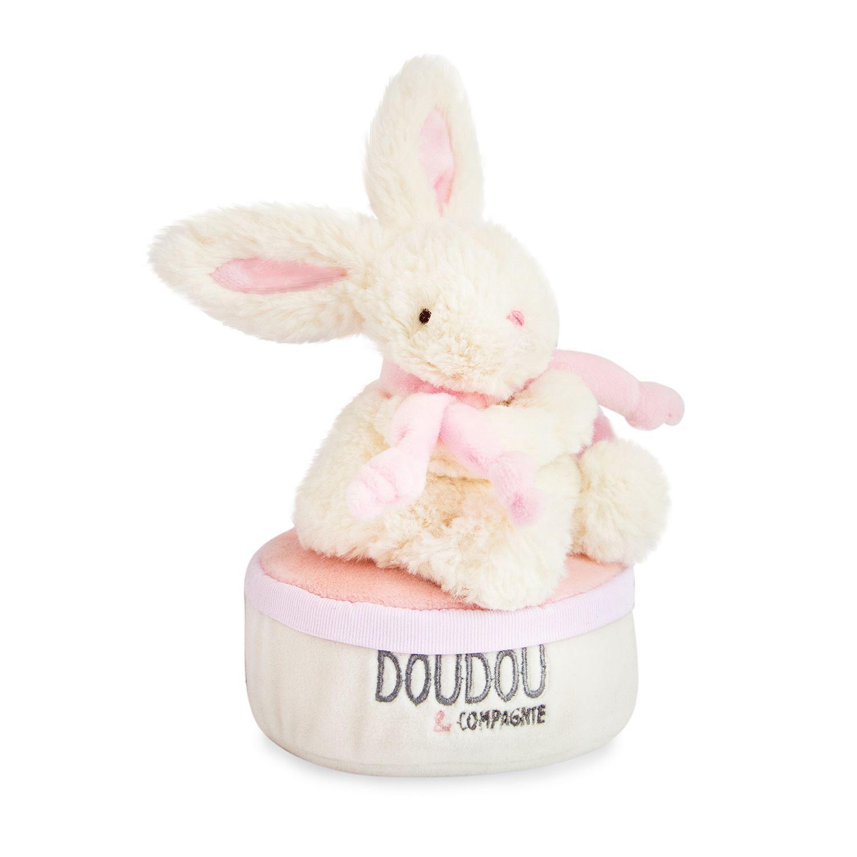 Plyšový  zajíček  růžový - hrací skříňka v krabičce - Dou Dou (17 cm)