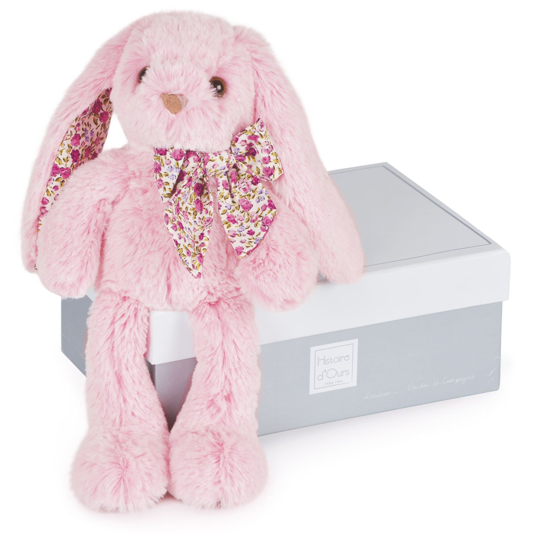 Plyšový zajíček růžový v krabičce - Histoire D´Ours (25 cm)