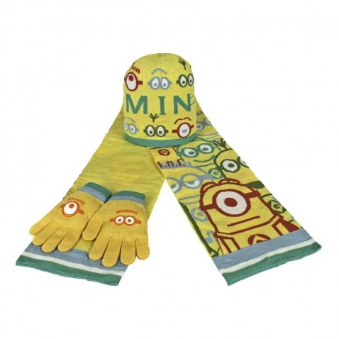 Set zimního oblečení - Mimoň -  slabo žlutá - čepice + šála + rukavice