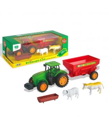 Traktor so strojom a zvieratmi na zotrv.