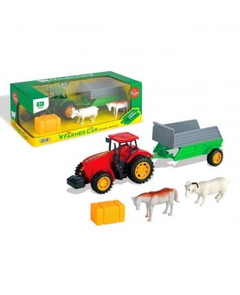 Traktor s vlečkou a zvieratmi na zotrv.