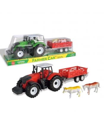 Traktor s prívesom a zvieratmi na zotrv.