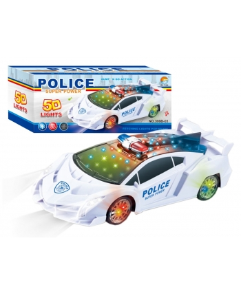 Policajné auto s farebnou hudbou