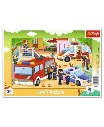 Puzzle 15 rámkové Autá záchranári