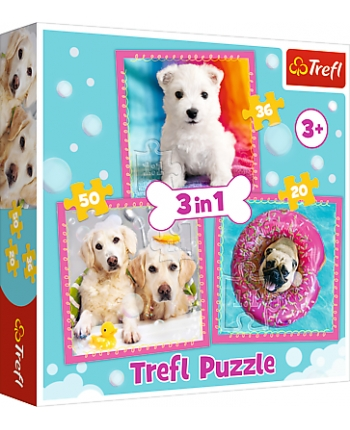 Puzzle 3v1 Psi v kúpeli