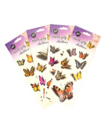 3D tetovačky - motýle - kartička (4-9 cm)
