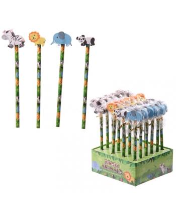 Ceruzka s gumou džungľové zvieratká 18 cm - displej 24 ks