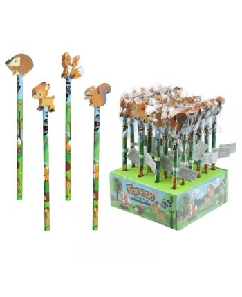 Ceruzka s gumou lesné zvieratká - displej 24 ks (20 cm)