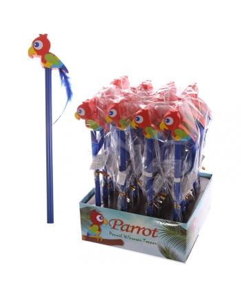 Ceruzka s gumou s papagájom - displej 24 ks (20 cm)