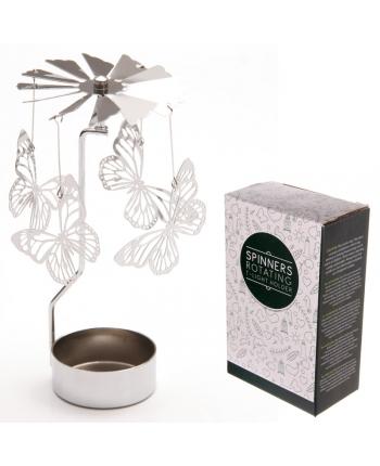 Dekorácia na čajovú sviečku s motýľmi (14 cm)