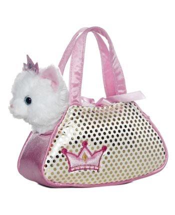 Plyšová kabelka ružová s bielou mačičkou - Fancy Pals (20,5 cm)