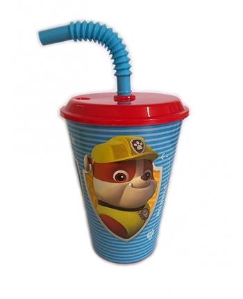 Športový plastový pohár so slamkou - Paw Patrol (430 ml.)