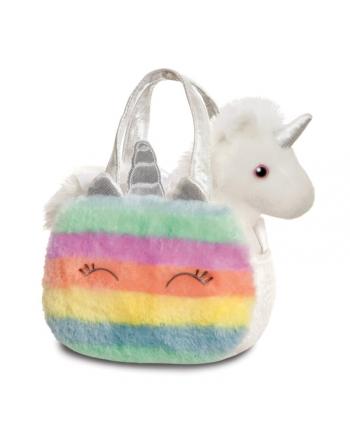 Plyšová kabelka dúhová s jednorožcom - horizontálne pruhy - Fancy Pals - 20,5 cm