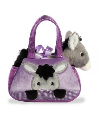 Plyšová kabelka fialová s oslíkom - Fancy Pals (20,5 cm)