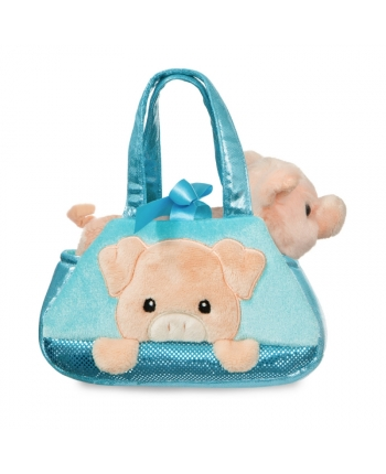 Plyšová kabelka modrá s prasiatkom - Fancy Pals (20,5 cm)