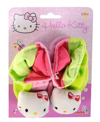 Plyšové papučky ružovo-zelené - Hello Kitty (13 cm)