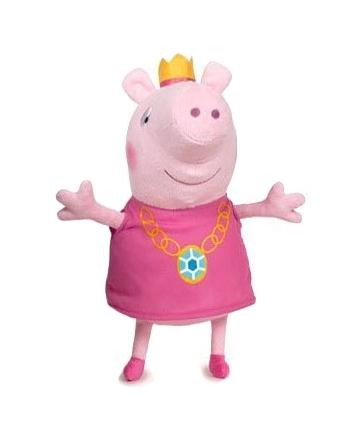 Plyšové Prasátko Peppa v růžových šatech s korunou (17 cm)