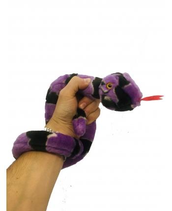 Plyšový had fialovo-čierny - 85 cm