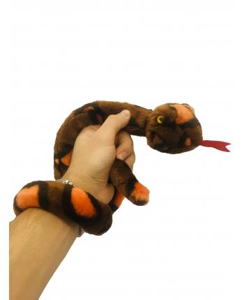 Plyšový had hnedo-oranžový - 85 cm