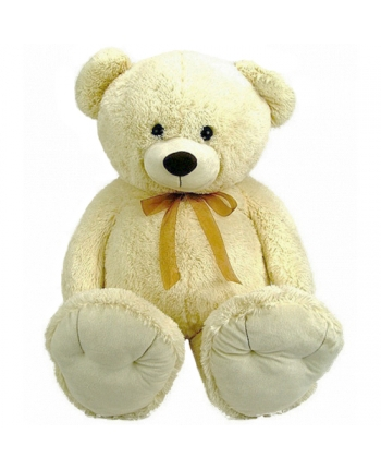 Plyšový medveď krémový s mašľou (110 cm)