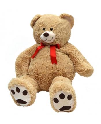 Plyšový medvídek medovohnedý s červenou mašlí (100 cm)