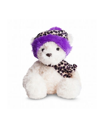 Plyšový medveď Wina s fialovou leoparďou čiapkou - Bear Collection (23 cm)