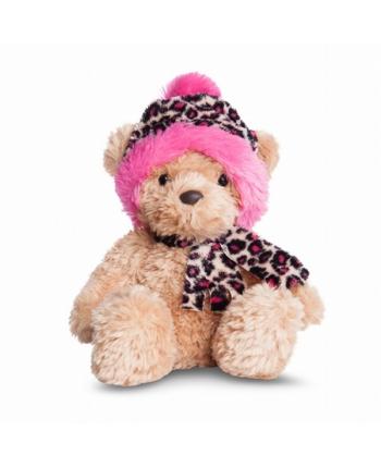 Plyšový medveď Wina s ružovou leoparďou čiapkou - Bear Collection (23 cm)