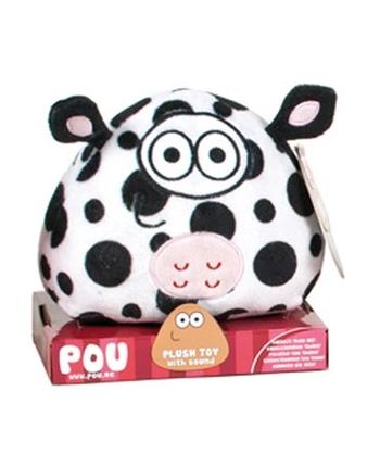Plyšový POU so zvukom - kravička (13 cm)