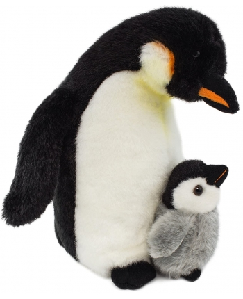 Plyšový tučňák s mládětem - Authentic Edition - 26 cm