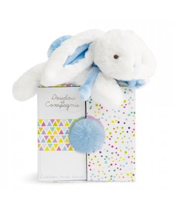 Plyšový zajačik bielo-modrý v škatuľke - Dou Dou (20 cm)