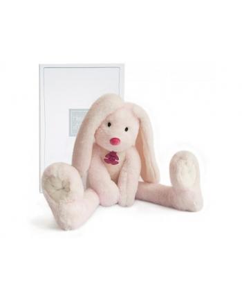 Plyšový zajačik s dlhými nohami Fluffy ružový v škatuľke - Histoire D´Ours (38 cm)